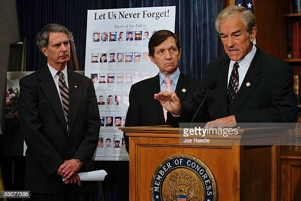 Rep. Walter Jones , Rep. Dennis Kucinich and Rep. Ron Paul attend a news conference to announce bipartisan legislation calling on President George W....