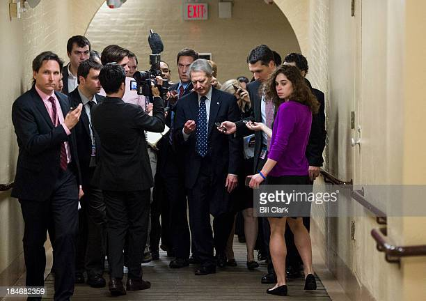 Rep Walter Jones RNC speaks to reporters as he leaves the House Republican Conference meeting in the basement of the Capitol Tuesday morning Oct 15...