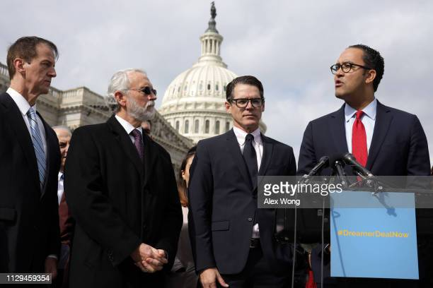 S Rep Will Hurd speaks as President Tim Phillips of Americans for Prosperity Rep Dan Newhouse and Executive Director Daniel Garza of LIBRE Initiative...