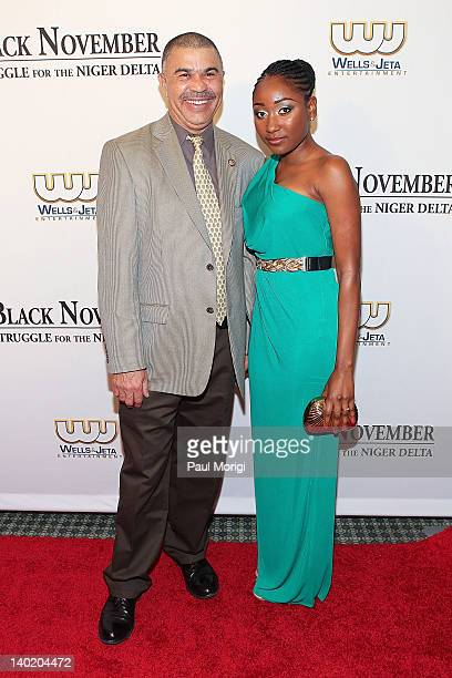 Rep William Lacy Clay and Mbong Amata attend the 'Black November' film screening at The Library of Congress on February 29 2012 in Washington DC