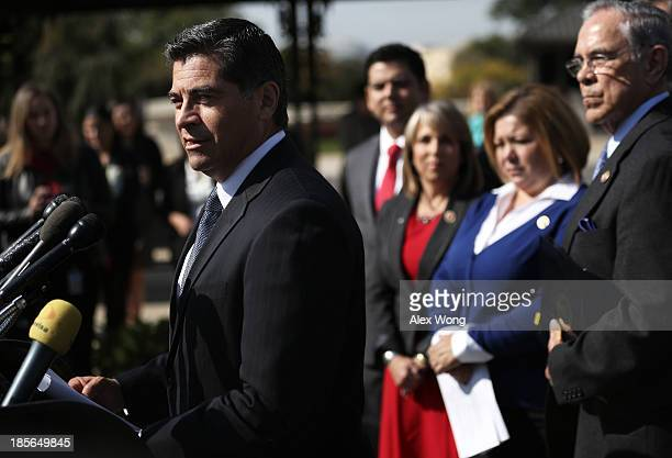 S Rep Xavier Becerra speaks as Congressional Caucus Chair Rep Rubén Hinojosa looks on during a news conference with and Rep Joaquin Castro October 23...