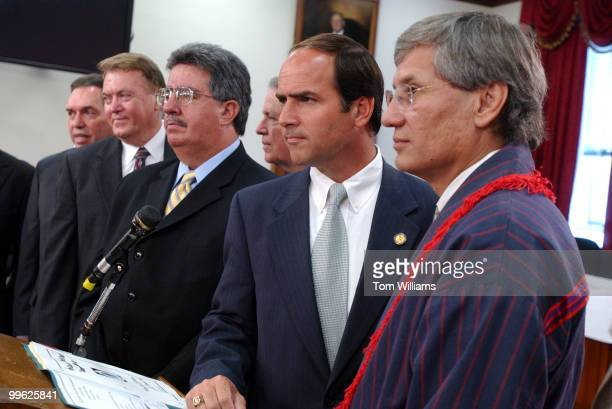 Rep Zach Wamp RTenn with Chad Smith right principal chief of the Cherokee Nation attend a news conference to announce a bill that would eventually...