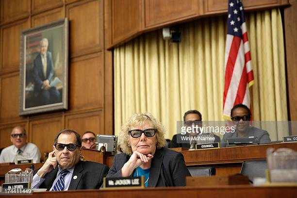 Rep Zoe Lofgren and Rep Jerrold Nadler join with other members of the House Courts Intellectual Property and the Internet Subcommittee in wearing 3D...