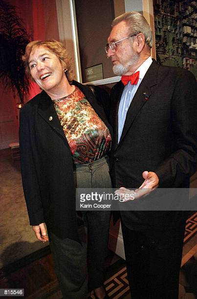 Rep Zoe Lofgren laughs with Former Surgeon General Everett Koop at the Elizabeth Glaser Pediatric Aids Foundation 10th Anniversary Gala June 23 1999...