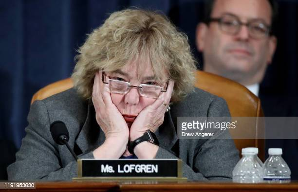 Rep Zoe Lofgren listens as constitutional scholars testify before the House Judiciary Committee in the Longworth House Office Building on Capitol...