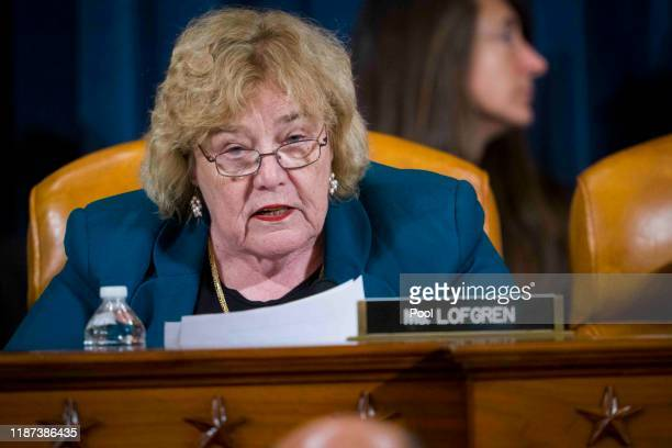 Rep Zoe Lofgren speaks as lawyers for the House Intelligence Committee testify before the House Judiciary Committee in the Longworth House Office...