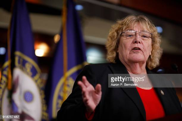 Rep Zoe Lofgren speaks at a press conference on Capitol Hill on February 14 2018 in Washington DC Pelosi and her fellow Democrats addressed the need...