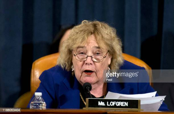 Rep Zoe Lofgren speaks during a House Judiciary Committee markup of the articles of impeachment against President Donald Trump on Capitol Hill on...