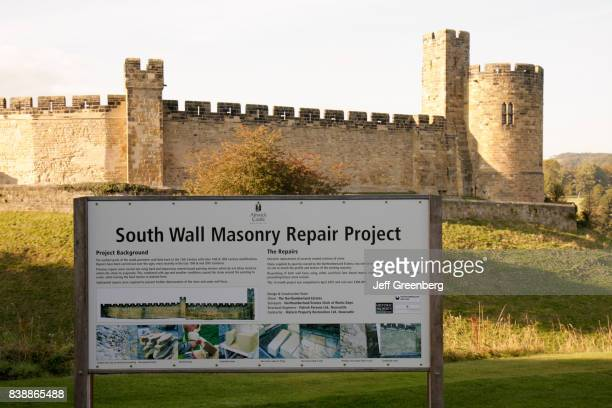 A repair project sign outside Alnwick Castle