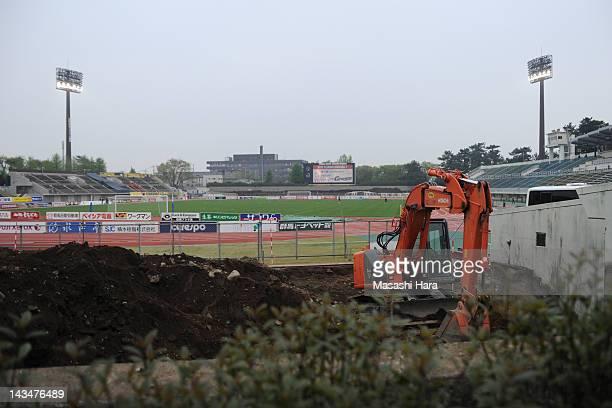 Repair work of Shoda Shoyu Stadium Gunma's stand before the JLeague Second Division match between Thespa Kusatsu and Giravanz Kitakyushu at Shoda...