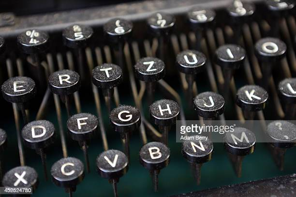 A repaired vintage typewriter sits on display on July 22 2014 at the Arndt Hans Joachim Bueromaschinen office supply store in Berlin Germany Patrick...