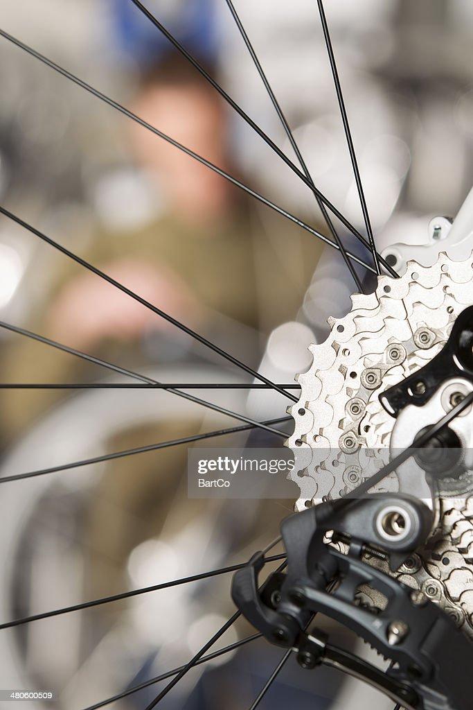 Repairing a bike : Stock Photo