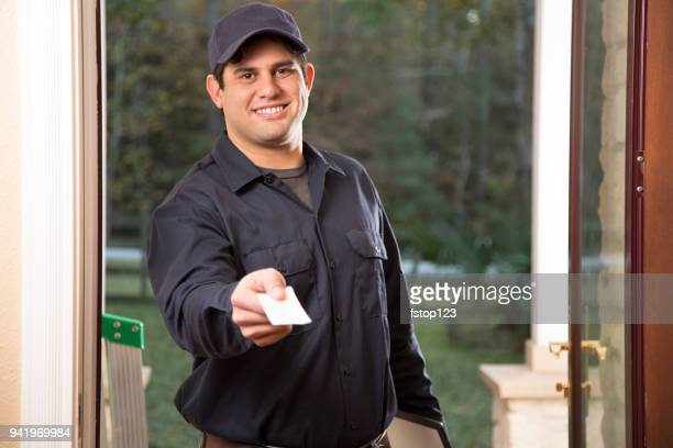 repairman arrives at customer's front door for home repairs. - house call stock photos and pictures