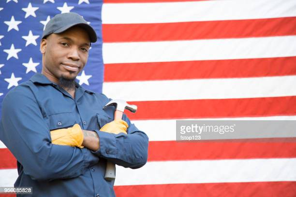repairman, blue collar worker and usa flag. - labor day stock pictures, royalty-free photos & images