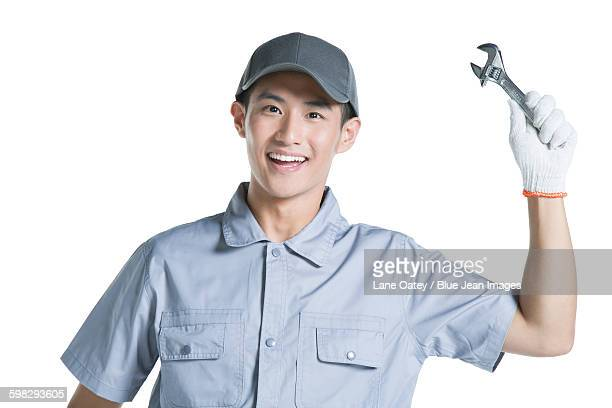 Repairman holding a spanner