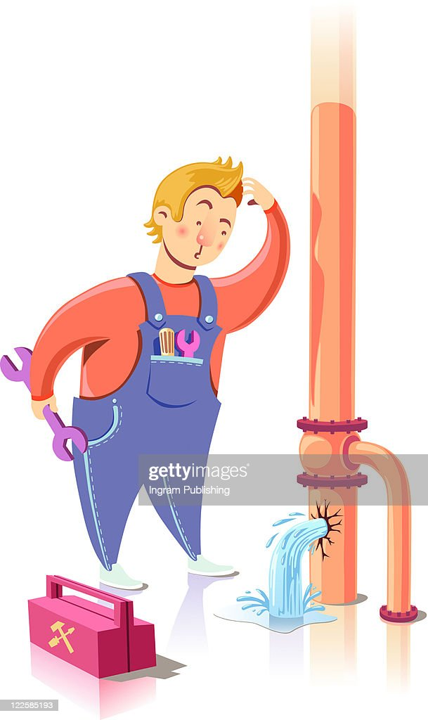 Repairman in confusion. : Stock Photo