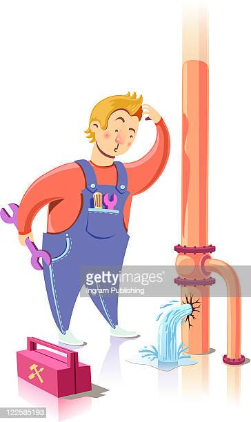 repairman in confusion. - vector stock pictures, royalty-free photos & images