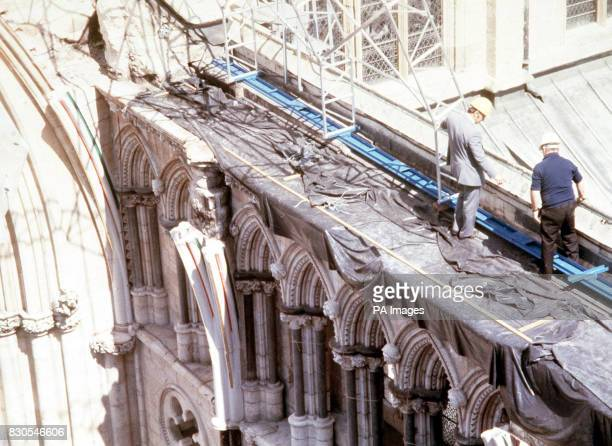 Repairs were taking place for the reconstruction of York Minster south transept The work follows a fire at the 500 year old minster which was...