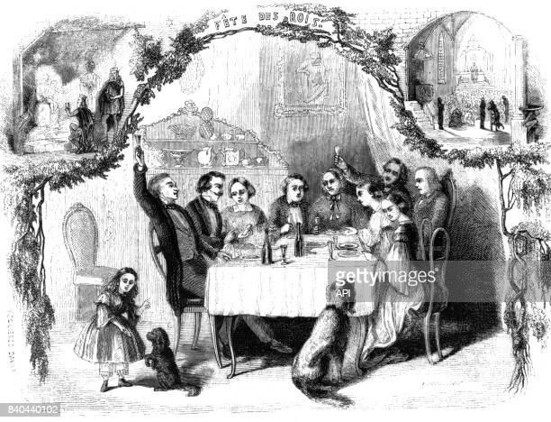 Repas de famille pendant la fête des Rois en France en 1858