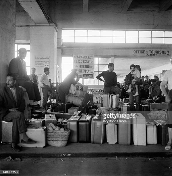 Repatriated people from Algeria arrive in Marseille aboard the ship Ville De Tunis, in Marseille, France on July 20, 1962.