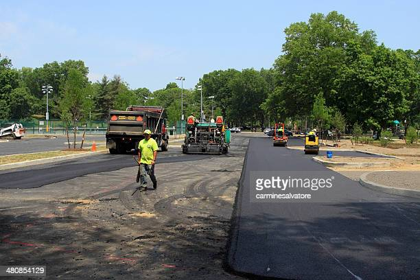 re-paving - asphalt paving stock photos and pictures