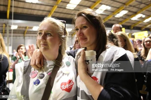 Repeal supporters at Dublin's RDS wait for the start of the count in the referendum on the 8th Amendment of the Irish Constitution which prohibits...