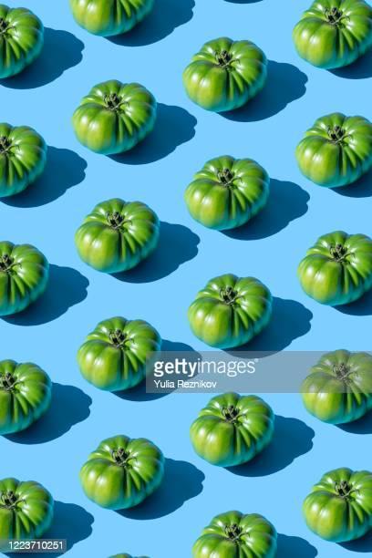 repeated green tomatoes on the blue background - vegetais - fotografias e filmes do acervo