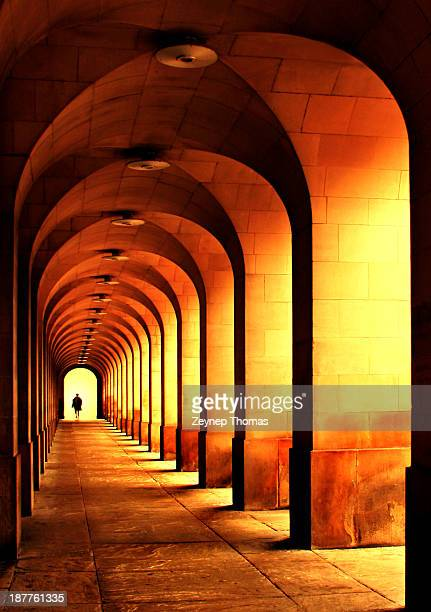 repeating columns and arches - manchester england stock pictures, royalty-free photos & images