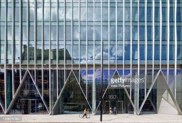 Repeating triangles of the commercial office entrance facade. The Nova Building, Westminster, United Kingdom. Architect: PLP Architecture / Benson &...
