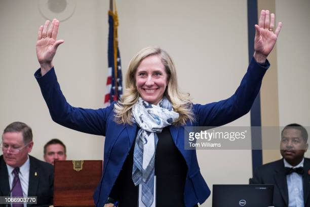 Repelect Abigail Spanberger DVa is seen after drawing number 11 during the new member room lottery draw for office space in Rayburn Building on...