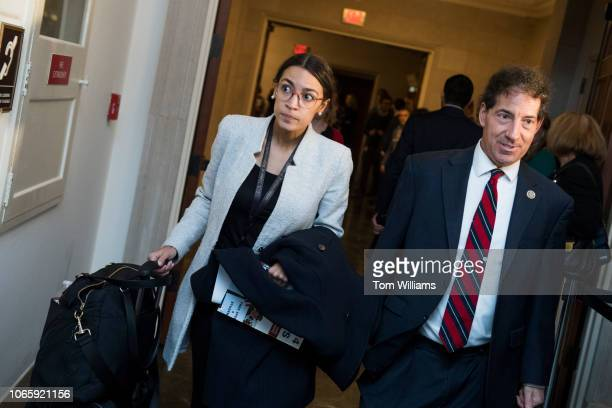 Repelect Alexandria OcasioCortez DNY and Rep Jamie Raskin DMd are seen outside a freshmenonly Democratic forum with candidates in contested...