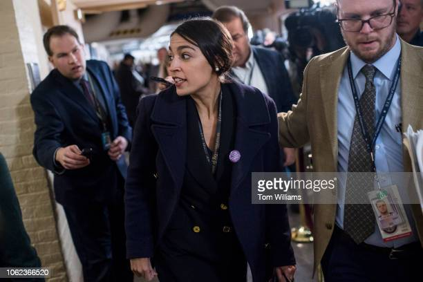 Repelect Alexandria OcasioCortez DNY arrives for a meeting of the House Democratic Caucus in the Capitol on November 15 2018