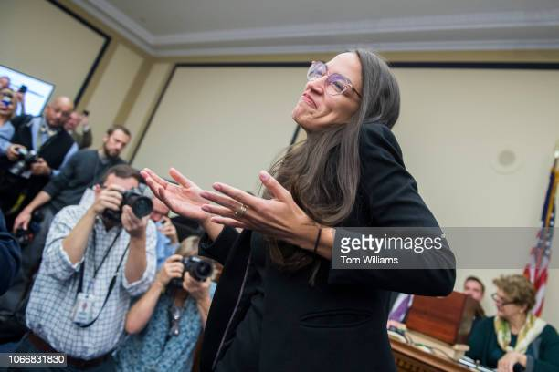 Repelect Alexandria OcasioCortez DNY reacts after drawing number 40 during the new member room lottery draw for office space in Rayburn Building on...