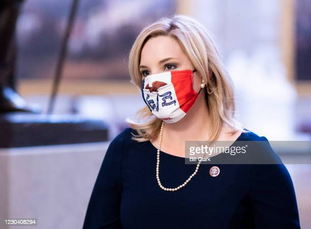 Rep.-elect Ashley Hinson, R-Iowa, walks through the Capitol on Sunday, January 3, 2021.