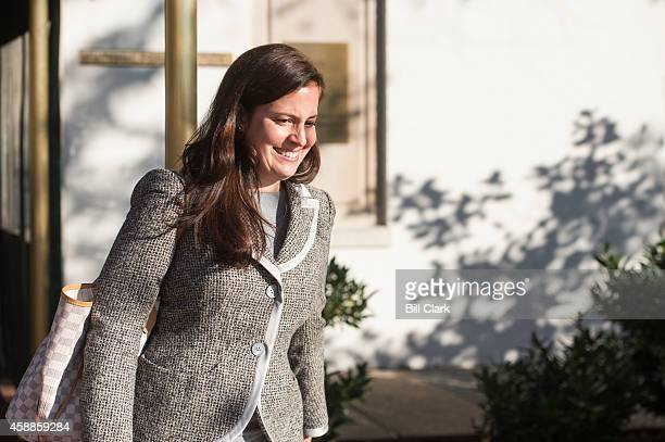Repelect Elise Stefanik RNY right leaves the Capitol Hill Club in Washington on Wednesday Nov 12 2014
