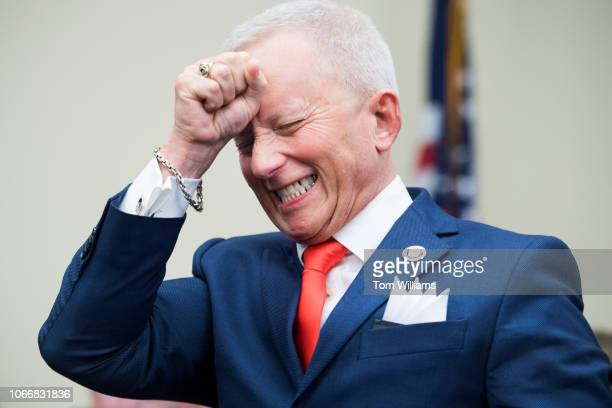 Repelect Jeff Van Drew DNJ reacts after drawing a disappointing number during the new member room lottery draw for office space in Rayburn Building...