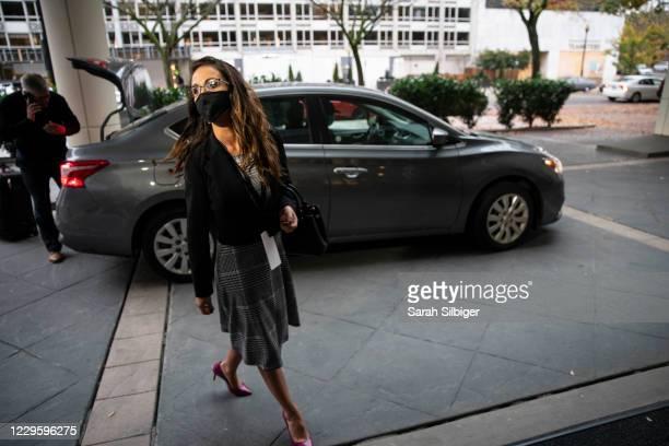 Rep.-elect Lauren Boebert arrives to the Hyatt Regency hotel on Capitol Hill on November 12, 2020 in Washington, DC. Orientation begins for the...