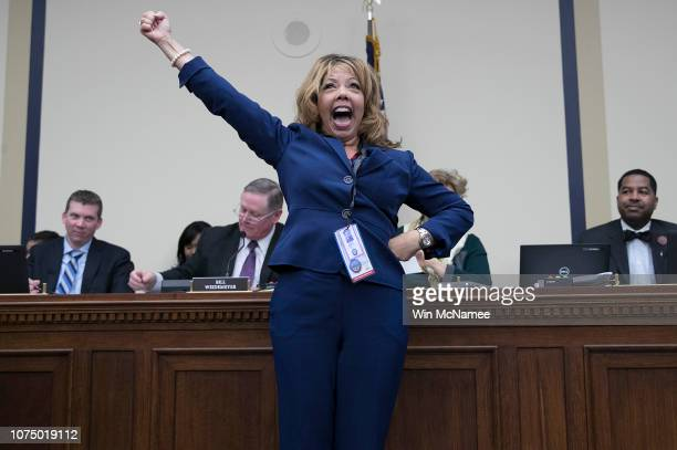 Repelect Lucy McBath celebrates after drawing the number 18 in the lottery draw for congressional offices November 30 2018 in Washington DC As part...