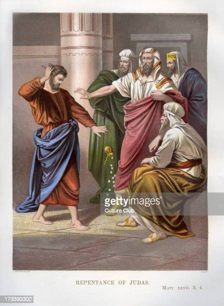 Repentance of Judas Illustration to Matthew 27 3 4 Judas returns the money to the priests who paid him to betray Jesus