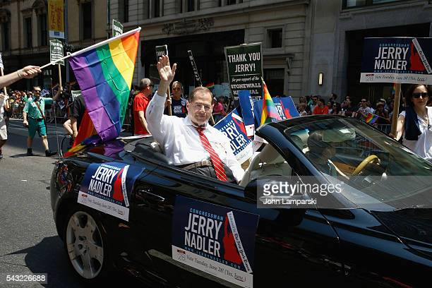 US reperesentative for New York's 10th congressional District Jerry Nadler attends New York City Pride 2016 March at Pier 26 on June 26 2016 in New...