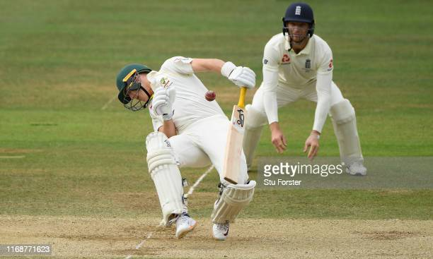 Replacement batsman Marnus Labuschagne is felled by a delivery from Jofra Archer during day five of the 2nd Ashes Test match between England and...