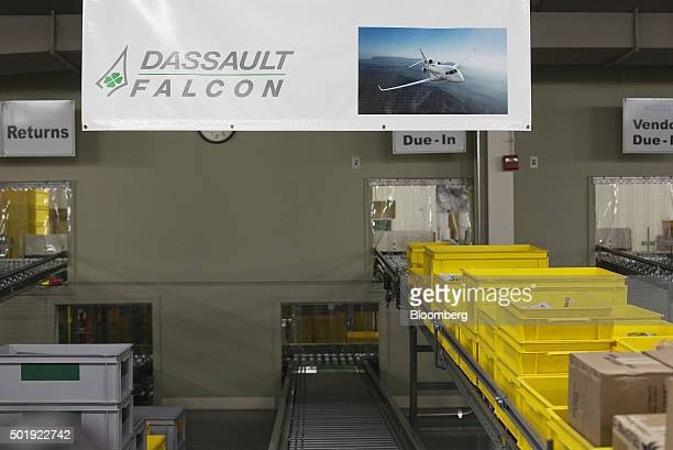 Replacement parts for jets are sorted on arrival in the Dassault Aviation SA Falcon Jet parts distribution center at Teterboro Airport in Teterboro...