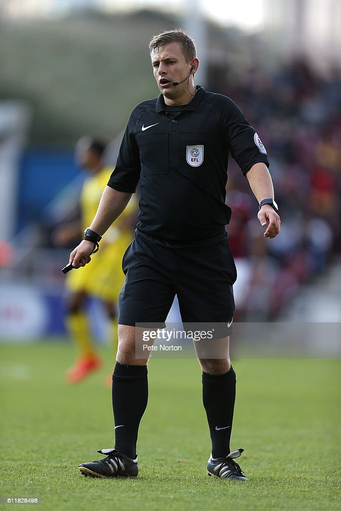 Replacment Referee Josh Smith in action during the Sky Bet League One match between Northampton Town and Bristol Rovers at Sixfields Stadium on October 1, 2016 in Northampton, England.