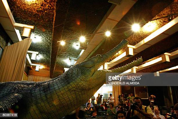 A replica and some fossil bones of a 62 million yearold crocodyliform is presented to the press at the Museum of National History in Rio de Janeiro...