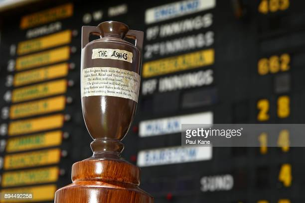 A replica Ashes urn is pictured in front of the scoreboard during day five of the Third Test match during the 2017/18 Ashes Series between Australia...