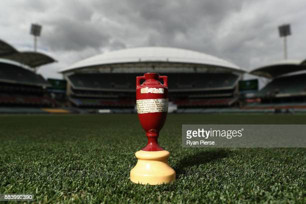 Replica Ashes Urn is seen on the ground before play during day one of the Second Test match during the 2017/18 Ashes Series between Australia and...