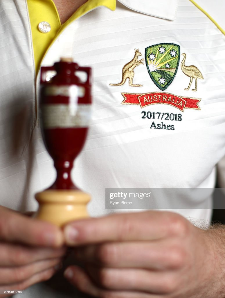 A replica Ashes Urn is seen with an Australian Ashes Test Shirt during the Australia Test cricket team portrait session on November 20, 2017 in Brisbane, Australia.