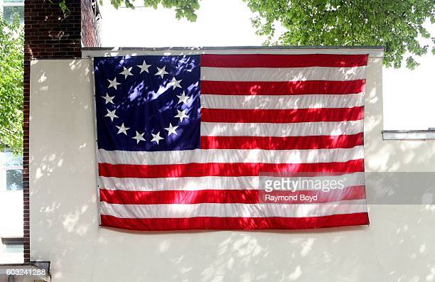 A replica 'Betsy Ross Flag' is posted on the side of the Betsy Ross House in Philadelphia Pennsylvania on August 27 2016