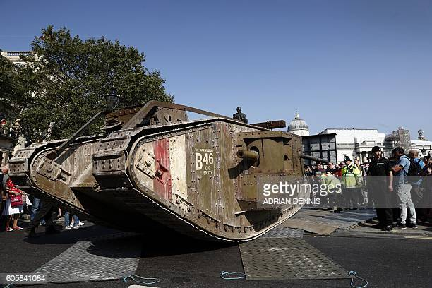 A replica British Mark IV tank is prepared before being driven on the road around Trafalgar Square in central London on September 15 during a...