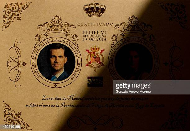 Replica certification of Prince Felipe and Princess Letizia Coronation is displayed at LK Merchandising Factory on June 12, 2014 in Colmenar Viejo,...